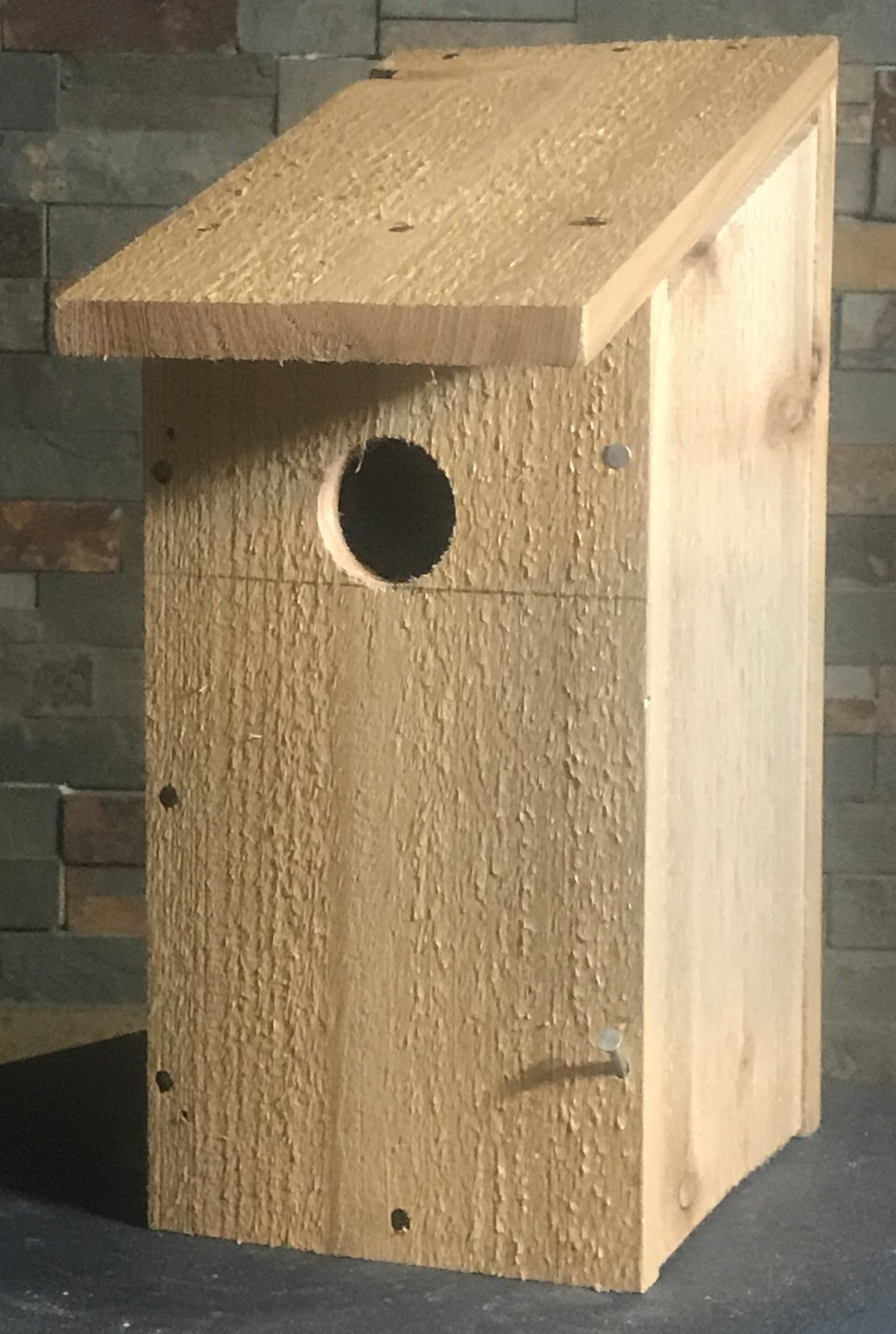 bluebird house using a single fence picket